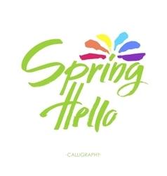 Hand Lettering Hello spring Brush lettering vector image