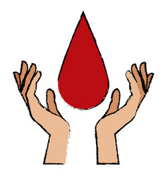hands with blood drop donation campaign vector image