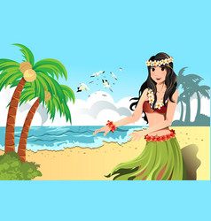 hawaiian hula dancer vector image