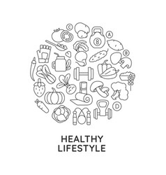 healthy lifestyle abstract linear concept layout vector image