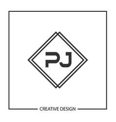 Initial letter pj logo template design vector