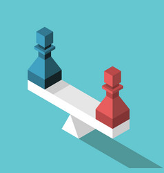 isometric scales colorful pawns vector image