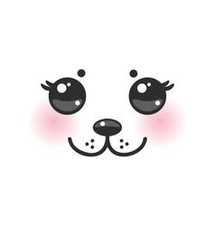 Kawaii funny albino animal white muzzle with pink vector