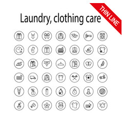 Laundry clothing care wash icons set universal vector