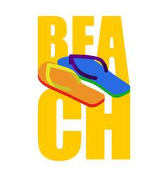 Lgbt beach sign slippers rainbow of color summer vector