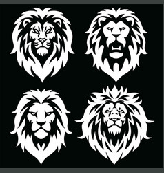 Lion logo mascot set icon black and white vector