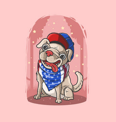 lovely cute dog pink background american bandana vector image