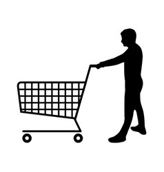 Man icon with shopping cart vector