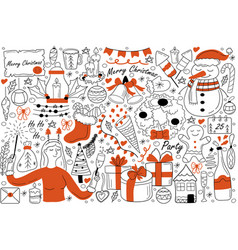 merry christmas doodle set vector image