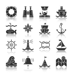 Nautical black silhouette with reflection icon set vector