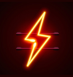 neon sign of lightning vector image
