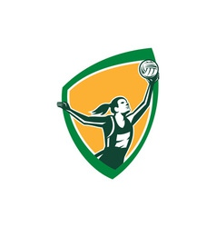 Netball Player Catching Ball Shield Retro vector image