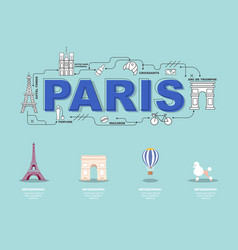 paris landmark icons for traveling in france vector image