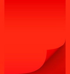 red sheet paper with curled corner and soft vector image