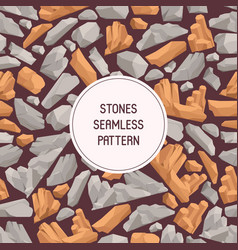 rock stones cartoon flat seamless pattern stones vector image