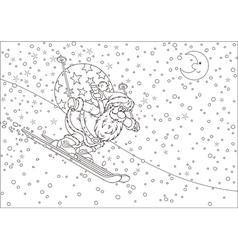 Santa Claus skier vector