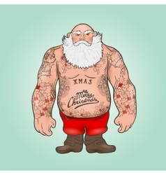 Santa with tattoos vector image