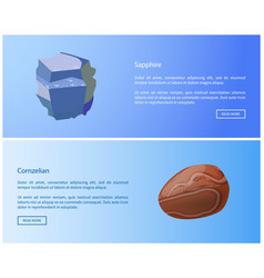 Sapphire carnelian precious stones web posters set vector