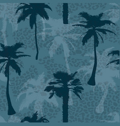 seamless exotic trendy pattern with palm trees and vector image