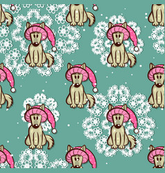 Seamless pattern dog in funny hat vector