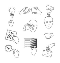 set of business icons in sketch style vector image