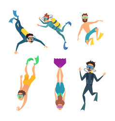 Set of cartoon characters underwater divers vector
