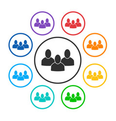 Set of group round icons with 3 peoples vector