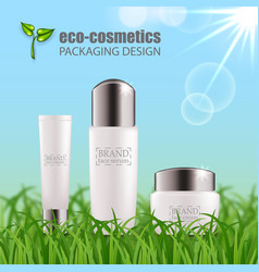 Set of realistic green glass bottles eco cosvetic vector
