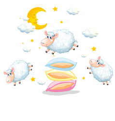 Sheeps jumping over pillows on white vector