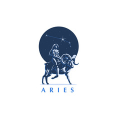 sign of the zodiac aries the girl rides on ram vector image