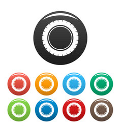 single tire icons set color vector image