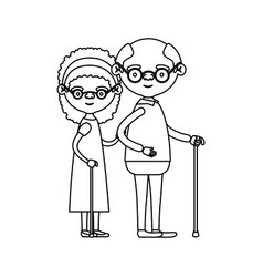 sketch silhouette full body couple elderly of vector image