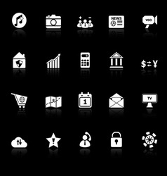 Smart phone icons with reflect on black background vector image