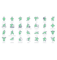 Sport people simple line icons vector