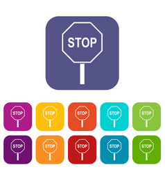 Stop road sign icons set vector