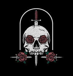 sword through a skull with a knife and roses vector image