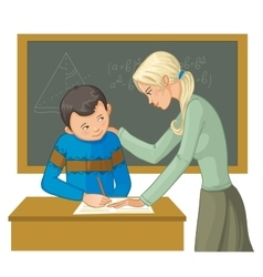Teacher helps a boy in classroom to resolve tasks vector