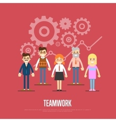 Teamwork banner with group of smiling people vector image