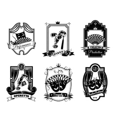 Theatre Black White Emblems Set vector
