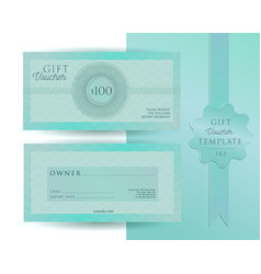 turquoise green blue template for 100 dollars gift vector image