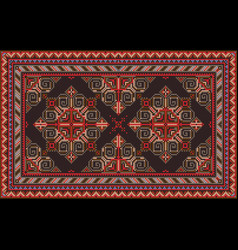 Vintage oriental carpet with red blue gray vector
