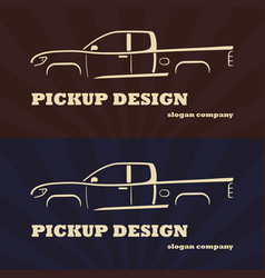 Vintage retro pickup truck car vector