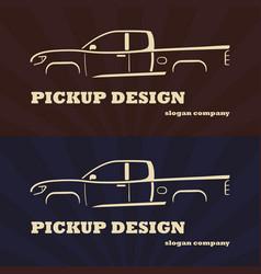 vintage retro pickup truck car vector image