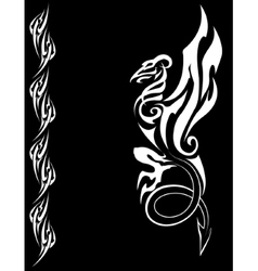 White dragon on a black background vector