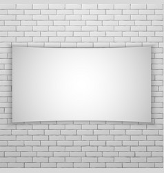 White movie screen or banner on white brick wall vector
