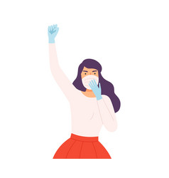 woman wearing protective medical face mask and vector image