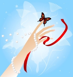 Womans hand and butterfly vector