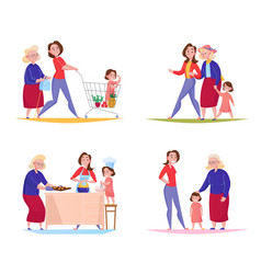 women generations concept design vector image