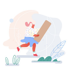 young woman carry huge wooden block piece for vector image