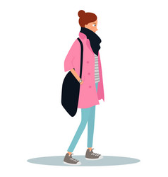 young woman dressed in coat and holding a bag vector image